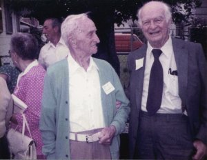 P.M. Stephenson and Linus Pauling at a Darling family reunion, 1983.