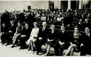The Pauling family assembled prior to Linus Pauling's Nobel Peace lecture, Oslo, Norway, December 10, 1963.