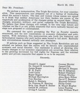 "Letter from the Ad Hoc Committee appended to ""The Triple Revolution"" memorandum, March 22, 1964."