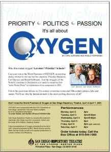 "Flyer for ""Oxygen,"" a play written by Carl Djerassi and Roald Hoffmann."