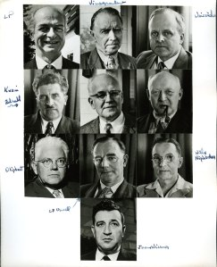 Portraits of participants in the Second Pugwash Conference on Science and World Affairs, March-April, 1958. Jerome Wiesner is depicted at bottom.
