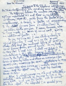 Page one of a handwritten letter from Linus Pauling to Jerome Wiesner, March 17, 1962.