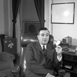 "Science Advisor Jerome Wiesner sits in his office, 1 February 1963.  Photograph by Cecil Stoughton in the John F. Kennedy Presidential Library and Museum, Boston. Scanned from original 2 1/4"" neg."