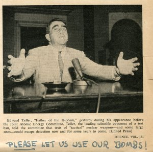 """Detail from """"Enforcing an Atom Test Ban: Scientists Testify Before Joint Atomic Energy Comittee,"""" Science, April 29, 1960. Annotation by Pauling."""