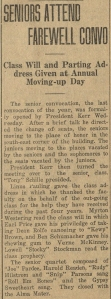 """Seniors Attend Farewell Convo,"" OAC Barometer, June 2, 1922."