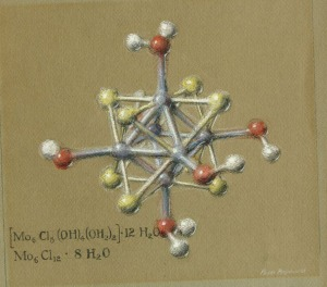 Pastel drawing of the molecular structure of molybdenumdichloride. By Roger Hayward, 1964.