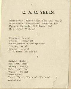 """O.A.C. Yells"" included in the 1907-1908 Rooter's Club book. Note the second  cheer written specifically for competitors in speech competitions."