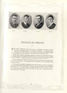 """Beaver Yearbook page devoted to a 1920 """"triangular debate"""" between OAC, Reed College and the University of Oregon. Paul Emmett is pictured at right."""
