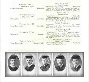 Pauling's senior class photo (lower left) and inscription (upper right), 1923 OAC Beaver Yearbook.