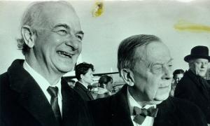 Pauling with Gunnar Jahn, ca. 1960s.