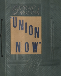 The cover of Ava Helen Pauling's Union Now scrapbook.