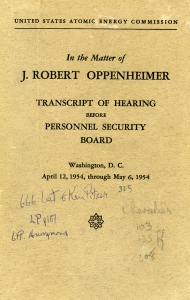 Pauling's copy of the Oppenheimer hearing transcript.