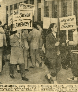 Los Angeles Examiner photo, ca. June 1953.  Note the partially obscured placard at left referencing Pauling's support for clemency.