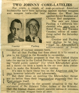New York Daily News opinion piece of September 2, 1961.