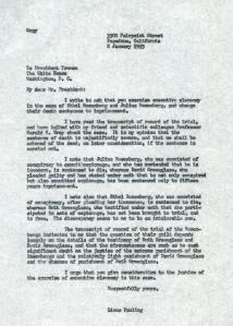 Pauling's letter to President Truman, January 1953.