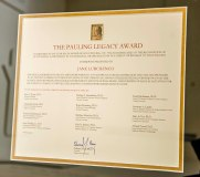 A close-up of the Pauling Legacy Award certificate.