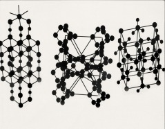 Low-light photographs of ball-and-stick crystal structures, ca. 1930s.